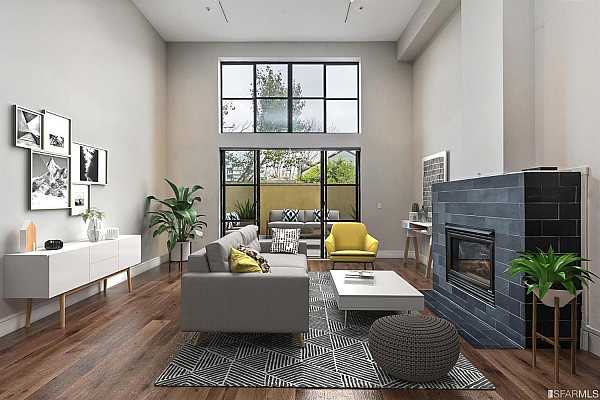 Photo #2 Grand living room with direct access to a tranquil and private patio, ideal for indoor and outdoor living     *Property virtually furnished