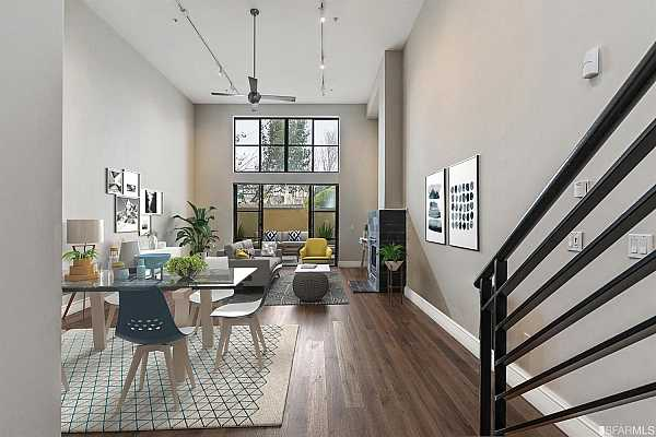 Photo #12 Living room and dining room combo with oak hardwood floor     *Property virtually furnished