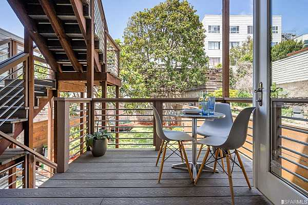 Photo #3 Private deck overlooking lush shared yard.