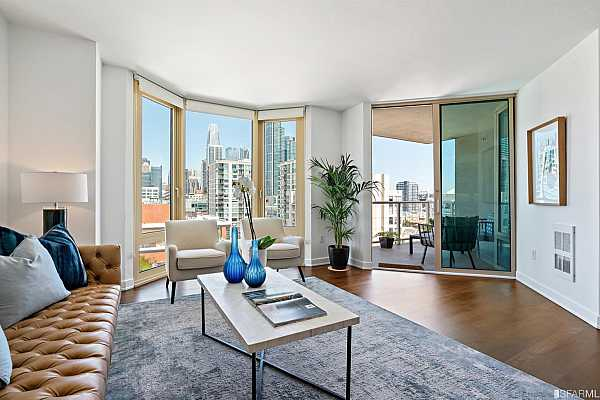 Photo #6 Newly refinished hardwood floors, designer finishes and large deck with sweeping City and Bay views