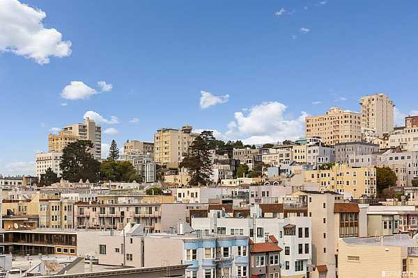 Photo #10 Living room view of the lush Russian Hill skyline.