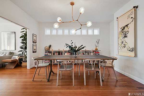 Photo #8 In the middle of the ground floor sits a sizable dining room with gorgeous new light fixture.